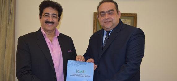 "Sandeep Marwah of ICMEI with Charge d"" Affaires H.E.Radu Actavian Dobre"